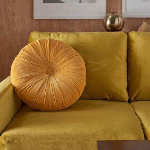 """Life Styles Rc190 Yellow 16"""" X 16"""" Round Throw Pillow"""