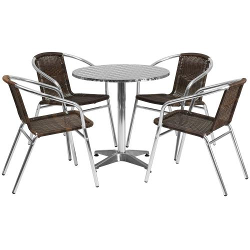 27.5'' Round Aluminum Indoor-Outdoor Table Set with 4 Dark Brown Rattan Chairs