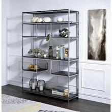 ACME Vonara Bookshelf - 92657 - Industrial, Contemporary - Metal Tube, Veneer (PVC), PB - Rustic Gray Oak and Chrome