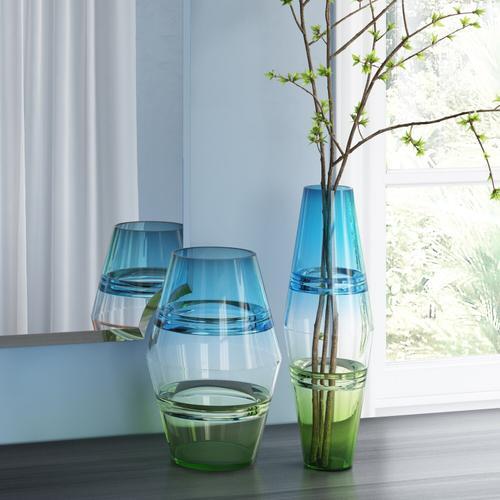 Howard Elliott - Blue and Green Glass Vase, Large