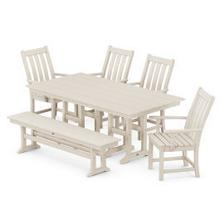 View Product - Vineyard 6-Piece Farmhouse Trestle Side Chair Dining Set with Bench in Sand