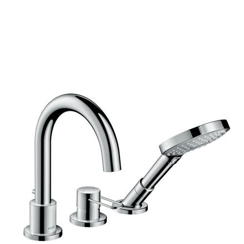 Brushed Brass 3-hole rim mounted bath mixer with loop handle