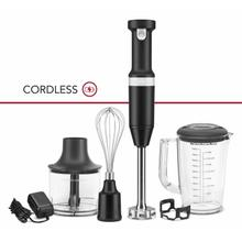 See Details - Cordless Variable Speed Hand Blender with Chopper and Whisk Attachment - Black Matte