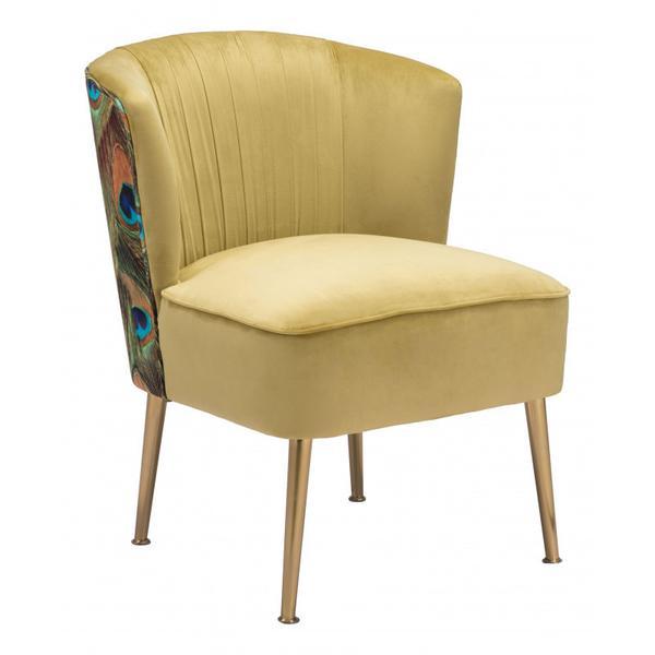 Tabitha Accent Chair Green, Gold & Peacock Print
