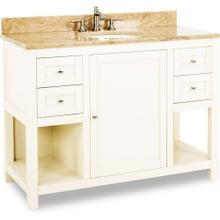 "48"" Cream White vanity with Satin Nickel hardware, modern Shaker style, and preassembled Emperador Light Quartz top and oval bowl"