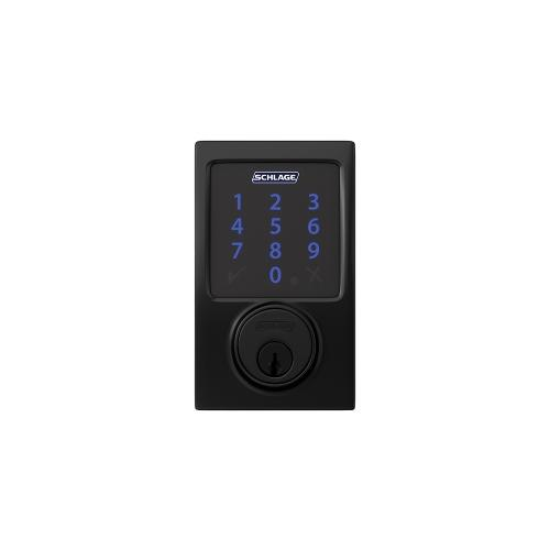 Schlage Connect Smart Deadbolt with alarm with Century trim, Z-wave enabled - Matte Black