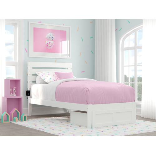 Atlantic Furniture - Oxford Twin Bed with Foot Drawer and USB Turbo Charger in White