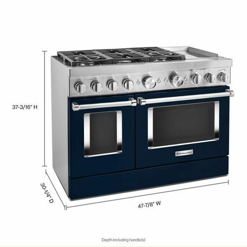 KitchenAid - KitchenAid® 48'' Smart Commercial-Style Dual Fuel Range with Griddle - Ink Blue