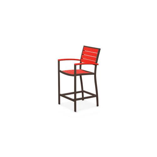 Polywood Furnishings - Eurou2122 Counter Arm Chair in Textured Bronze / Sunset Red