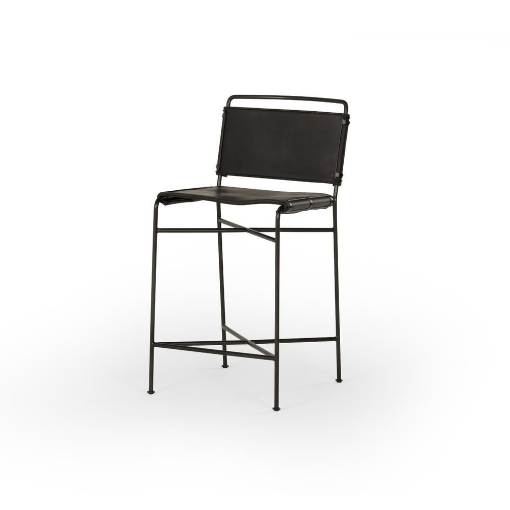 See Details - Counter Stool Size Distressed Black Cover Wharton Bar + Counter Stool