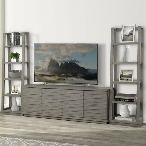 PURE MODERN 76 in. Console w/ Pair of Angled Etagere Bookcase Piers