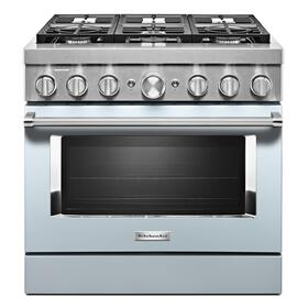 KitchenAid® 36'' Smart Commercial-Style Dual Fuel Range with 6 Burners Misty Blue
