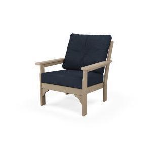 Polywood Furnishings - Vineyard Deep Seating Chair in Vintage Sahara / Marine Indigo