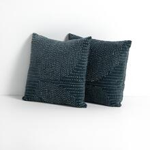 Slate Cover Kantha Stitch Pillow, Set of 2