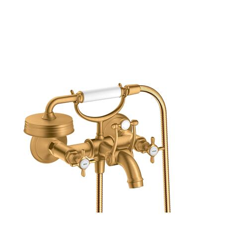 Brushed Gold Optic 2-handle bath mixer for exposed installation with cross handles
