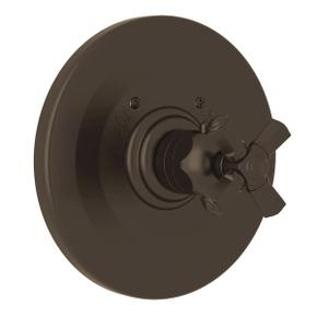 Palladian Thermostatic Trim Plate without Volume Control - Tuscan Brass with Cross Handle