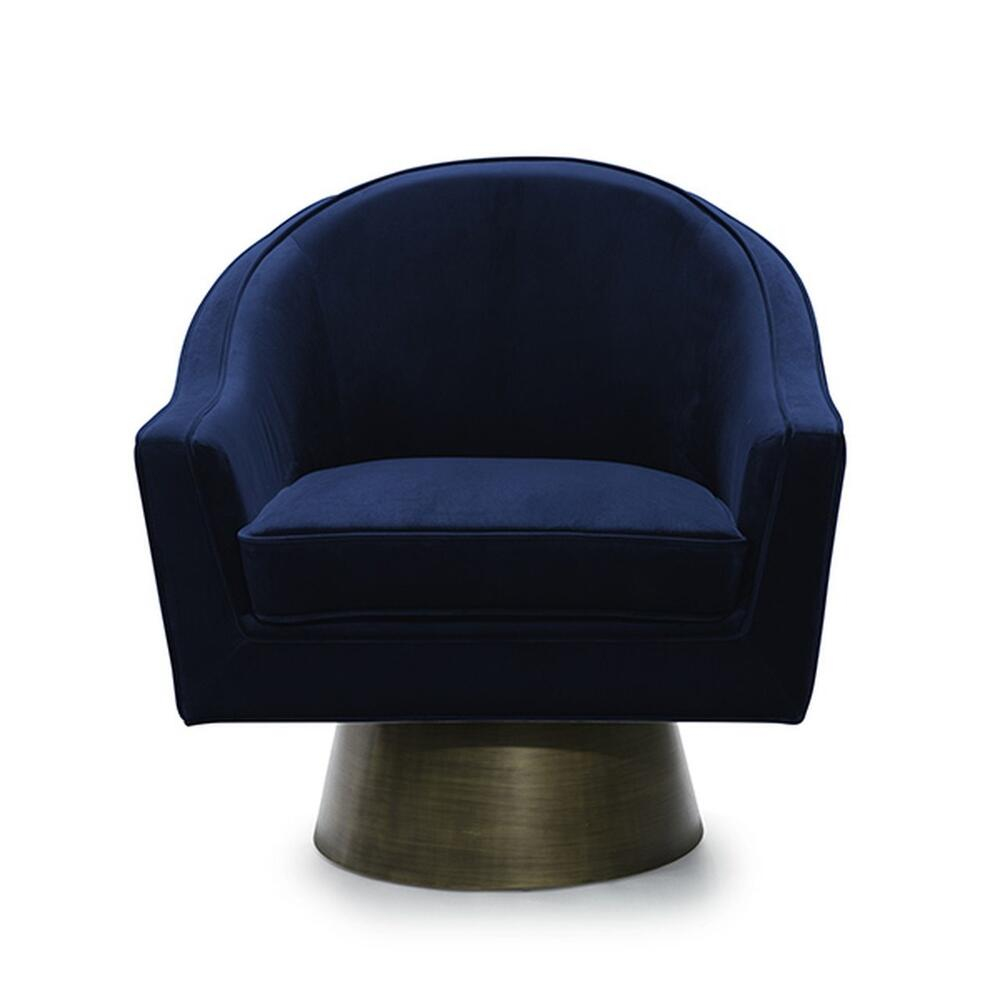 This Bold, Barrel Back Swivel Chair Will Steal the Show. Offered In Luxe Midnight Blue Velvet With A Painted Brushed Bronze Base, Our Dominic Occasional Chair Is Perfect for Your Deco Moderne or Mid Century Interior.