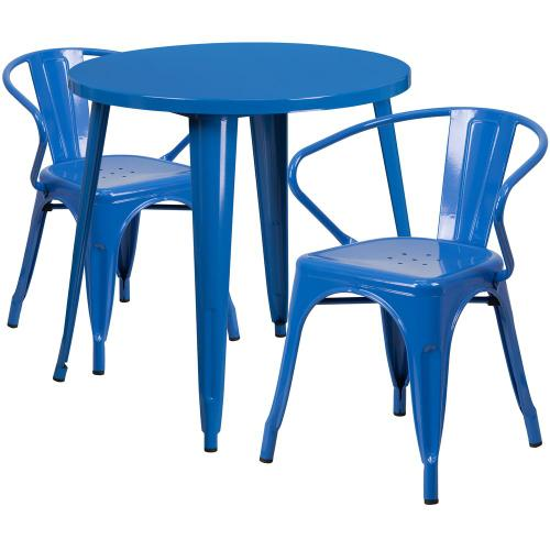 30'' Round Blue Metal Indoor-Outdoor Table Set with 2 Arm Chairs