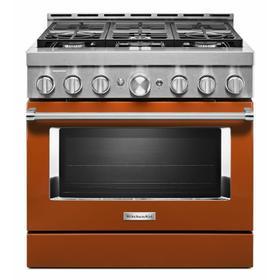 KitchenAid® 36'' Smart Commercial-Style Gas Range with 6 Burners - Scorched Orange