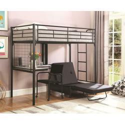 Contemporary Metal Loft Bunk Bed With Desk