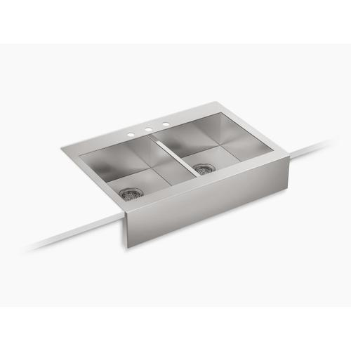 """35-3/4"""" X 24-5/16"""" X 9-5/16"""" Self-trimming Top-mount Double-equal Stainless Steel Apron-front Kitchen Sink for 36"""" Cabinet"""