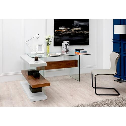 VIG Furniture - Modrest Sven Contemporary White & Walnut Desk & Shelves
