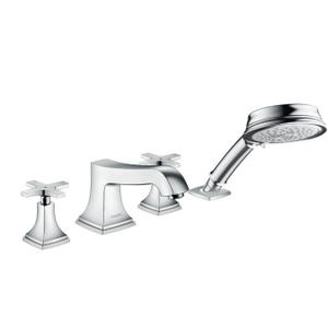 Chrome 4-Hole Roman Tub Set Trim with Cross Handles and 1.8 GPM Handshower Product Image