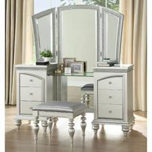 ACME Maverick Vanity Desk & Mirror - 91800 - Platinum