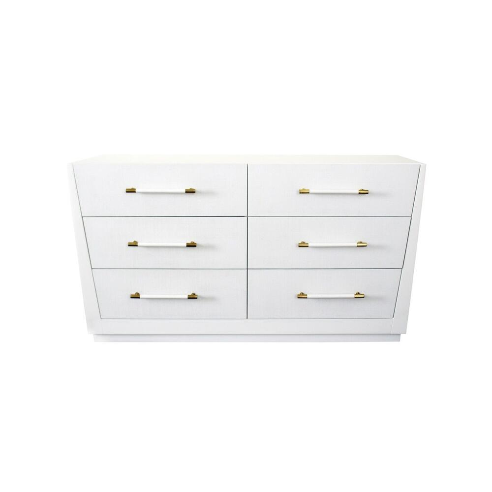 "Want To Add A Pop of Modern Glamour To Your Space"" Want Storage Too"" the Tapering Silhouette of Our Madden Chest In Matte White Lacquer Is Exactly What You've Been Searching For. Six Lacquered White Linen Drawers Offer A Subtle, Yet Glamorous Texture, and Antique Brass Hardware Finishes the Look. Très Chic!"