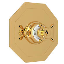 Edwardian Octagonal Concealed Thermostatic Trim without Volume Control - Unlacquered Brass with Cross Handle