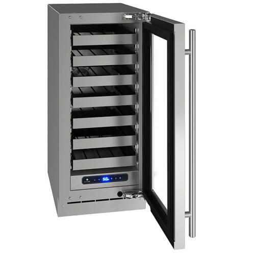"""15"""" Wine Refrigerator With Stainless Frame Finish and Left-hand Hinge Door Swing (115 V/60 Hz Volts /60 Hz Hz)"""