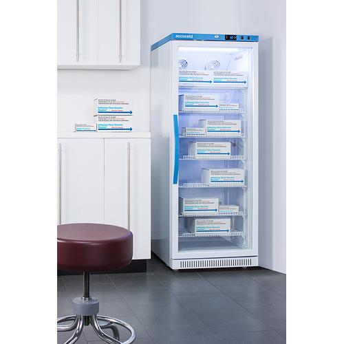 Product Image - Performance Series Pharma-vac 12 CU.FT. Upright Glass Door Commercial All-refrigerator for the Display and Refrigeration of Vaccines, With Antimicrobial Silver-ion Handle and Hospital Grade Cord With 'green Dot' Plug