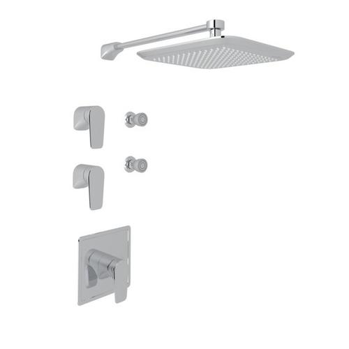 Polished Chrome Perrin & Rowe Hoxton Thermostatic Shower Package with Hoxton Metal Lever