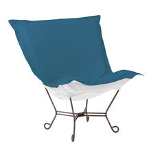 Scroll Puff Chair Seascape Turquoise Titanium Frame