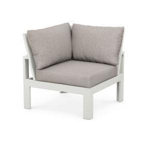 Polywood Furnishings - Modular Corner Chair in Vintage White / Weathered Tweed