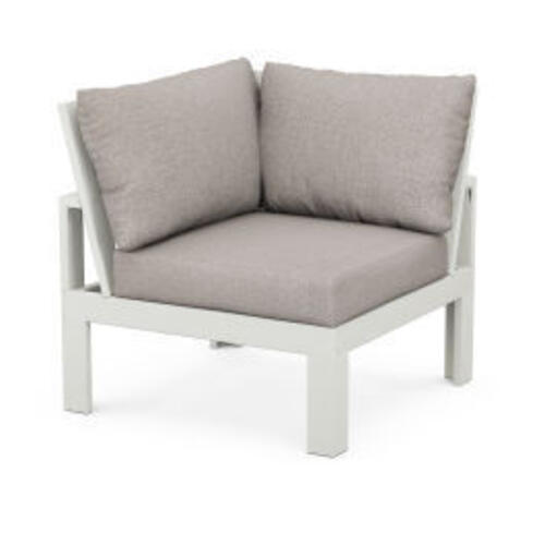 Modular Corner Chair in Vintage White / Weathered Tweed