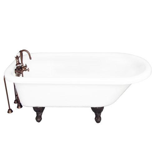 "Atlin 67"" Acrylic Roll Top Tub Kit in White - Oil Rubbed Bronze Accessories"