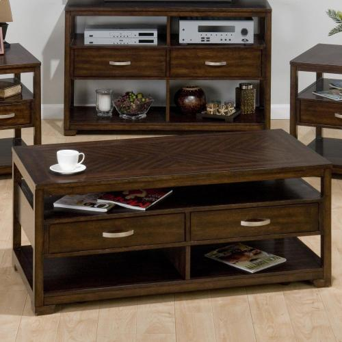 Jofran - Cocktail Table W/ 2 Suspended Pull-thru Drawers, Shelves and Casters