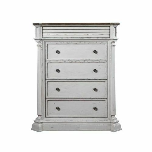 ACME York Shire Chest (5 Drw) - 28276 - Country-Cottage, Provincial - Wood (Poplar), Wood Veneer (Hickory), MDF, PB, Ply - Antique White and Dark Charcoal