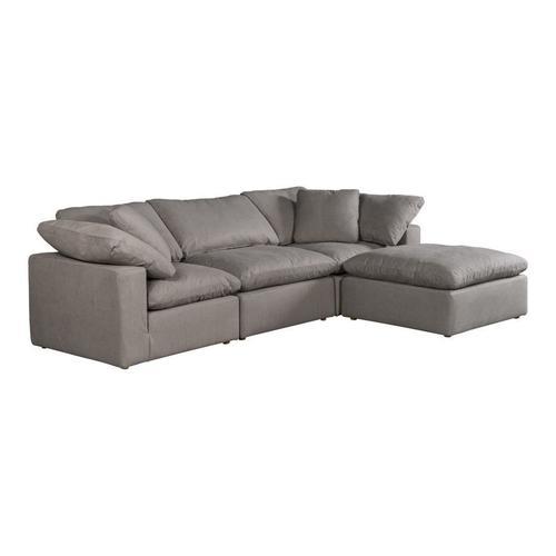 Moe's Home Collection - Terra Condo Lounge Modular Sectional Livesmart Fabric Light Grey