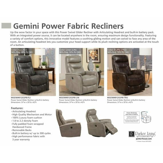 GEMINI - LINEN Power Swivel Glider Recliner