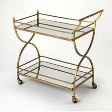See Details - This glamorous modern bart cart is a must-have for anyone that enjoys entertaining. Forged from stainless steel and aluminum, it boasts a mesmerizing antique gold finish with two mirrored glass shelves. Guests will be sure to follow as four large casters ensure easy mobility from one room to the next.