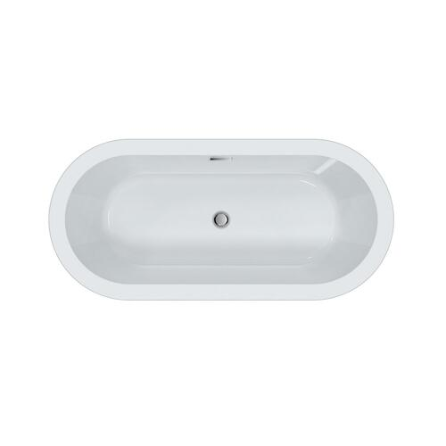 """Product Image - Saville 66"""" Acrylic Tub with Integral Drain and Overflow - Matte Black Drain and Overflow"""