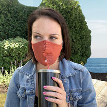 Happy Hour Reusable Face Mask in Bittersweet Red Stripe