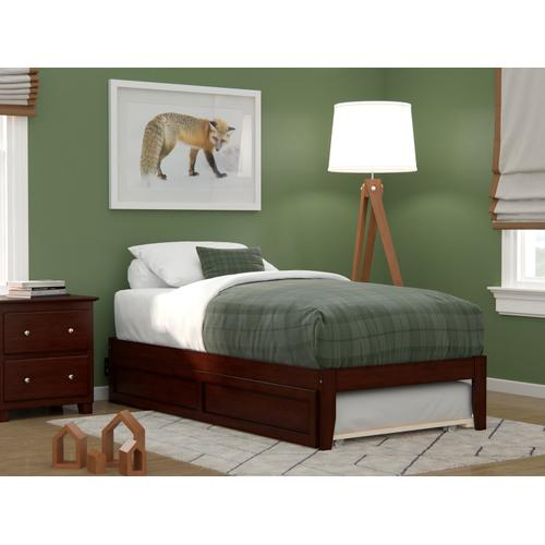 Atlantic Furniture - Colorado Twin Bed with USB Turbo Charger and Twin Trundle in Walnut