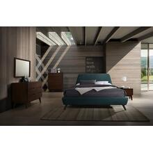 See Details - Modrest Lewis Mid-Century Modern Teal & Walnut Bedroom Set