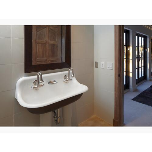 White 3' Wall-mounted Wash Sink With 2 Faucet Holes