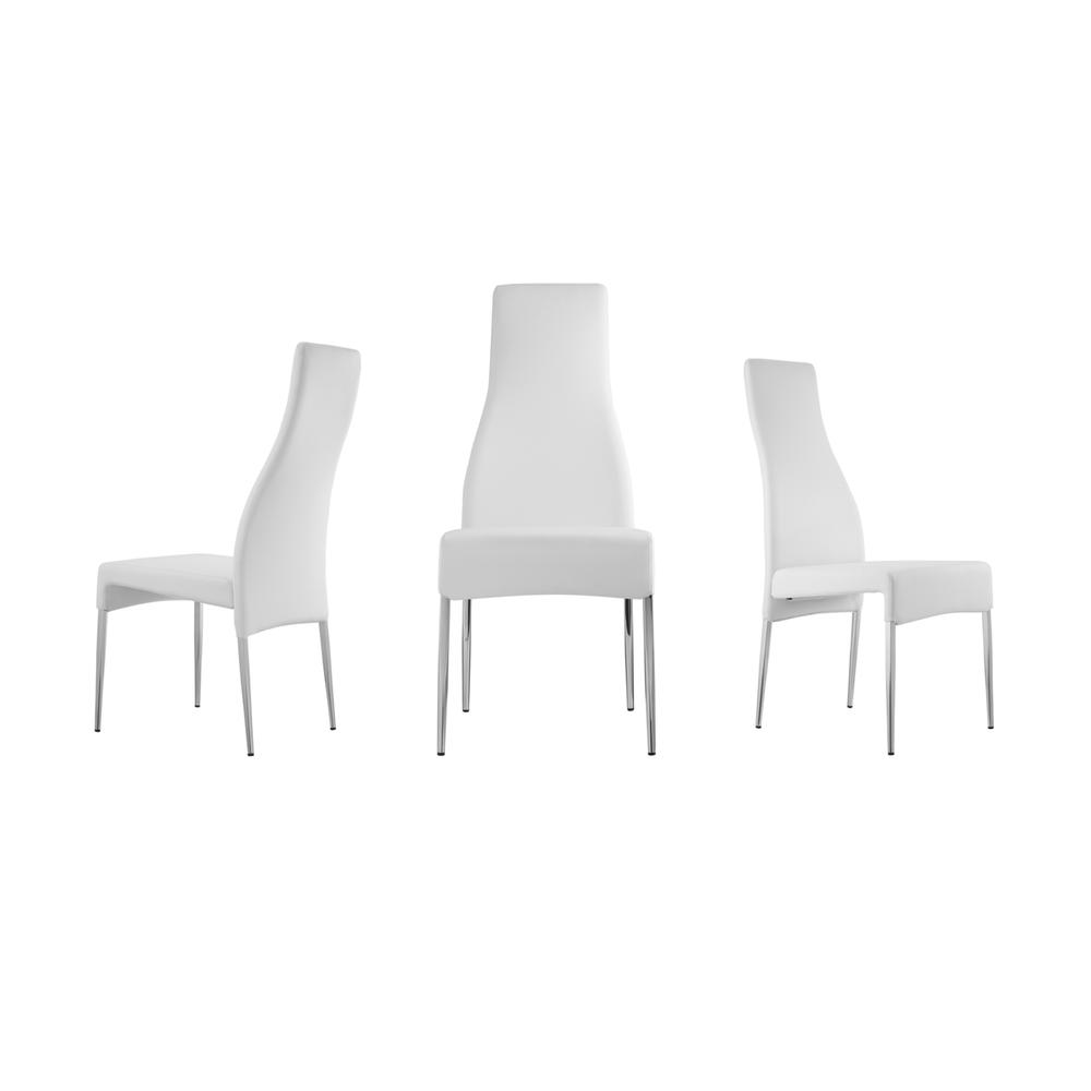 The Valentino White Eco-leather Dining Chairs