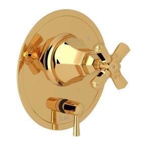 Palladian Pressure Balance Trim with Diverter - Italian Brass with Cross Handle