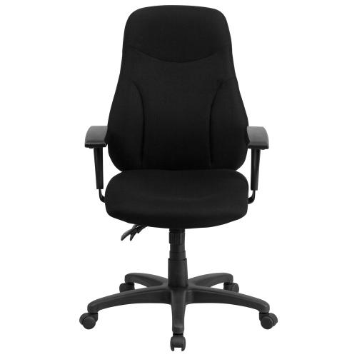 High Back Black Fabric Multifunction Ergonomic Swivel Task Chair with Adjustable Arms
